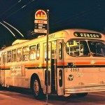 Night view of ex-Saskatoon Brill trolley 2363 on Robson W/B at Howe Street