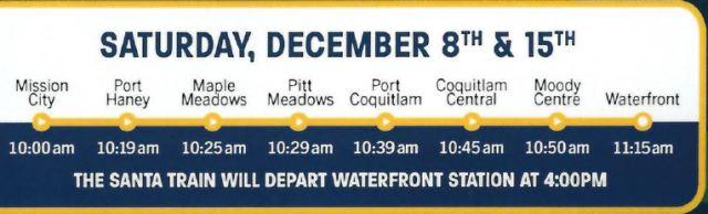 West Coast Express Santa train schedule