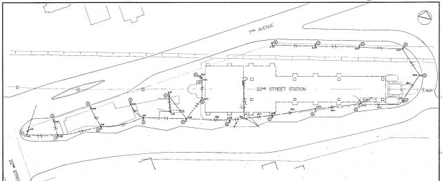 A drawing of the bus exchange from 22nd Street Station's original design in 1985.