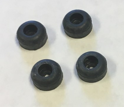 Replacement rubber feet for quiz game boxes.