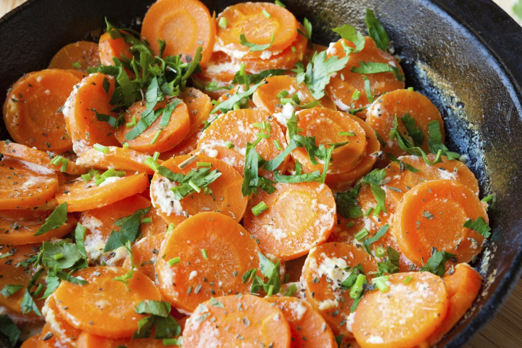 carrot stew with yogurt and parsley, food
