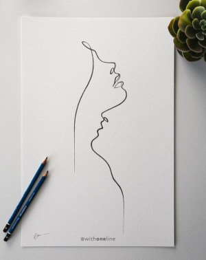 drawing draw line simple minimal easy beginners romantic compass lips portrait tattoo printable withoneline drawings abstract face minimalist sketch pencil