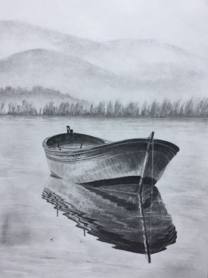 pencil easy sketches draw drawings sketch landscape drawing boat graphite elena row whitman landscapes boats drawn realistic water reflection cool