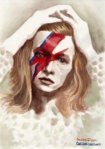 Collins, citoyen de Hong-Kong dresse une peinture représentant David Bowie dans sa période Ziggy Stardust (crédit: Facebook/Collins Yeung ART).