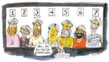 """C'est une caricature d'Annette Carlsen. On peut y voir un homme recherchant le prophète parmi 7 personnes. Il dit : """"Hmmm… je ne le vois pas."""""""