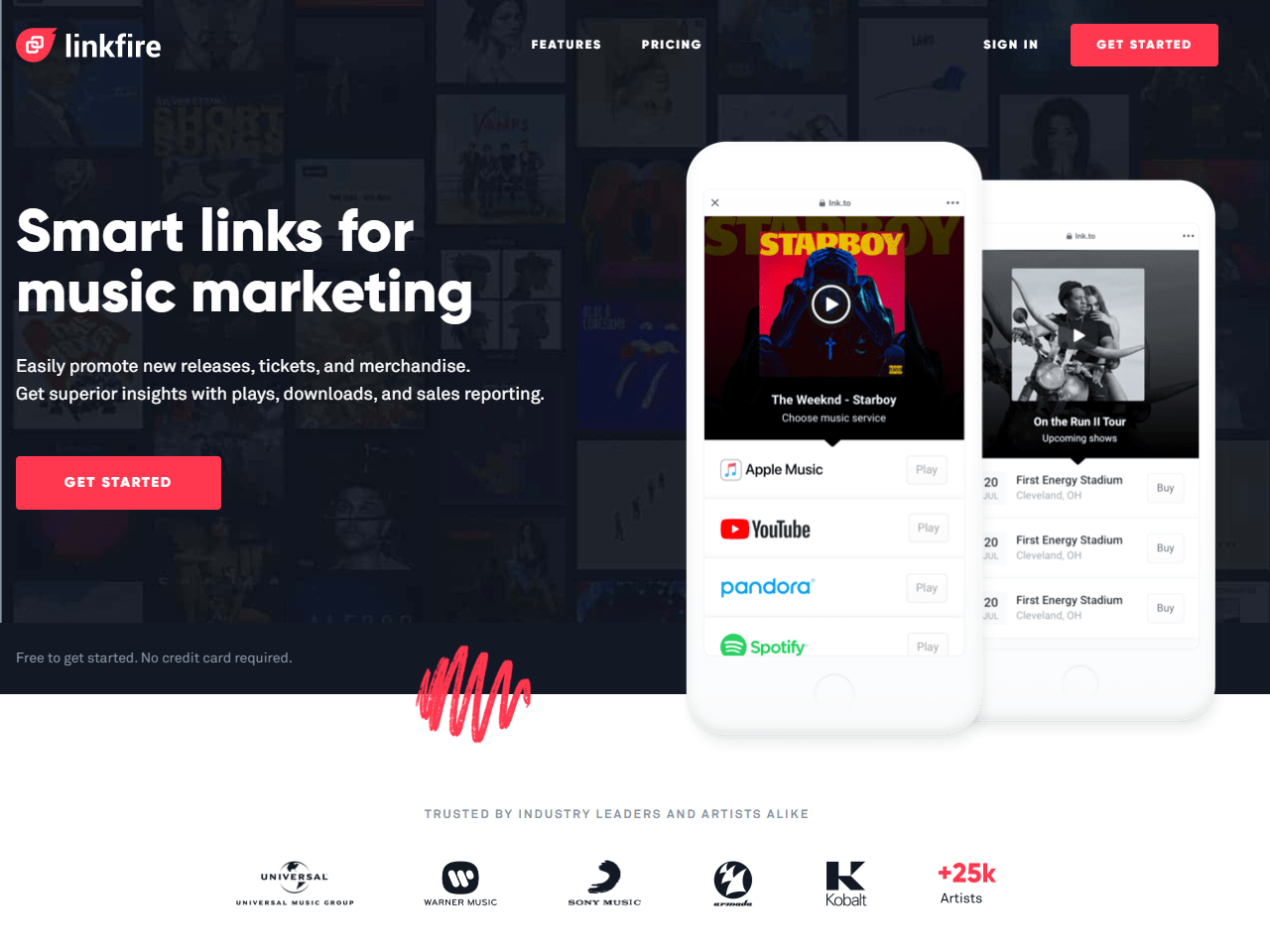 Smart links for music marketing artist marketing and tours promotion