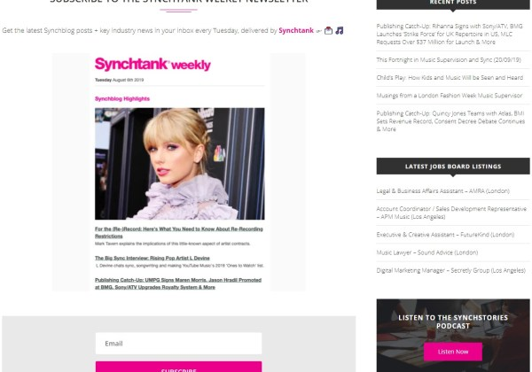 Subscribe to the Synchtank Weekly Music Industry Newsletter
