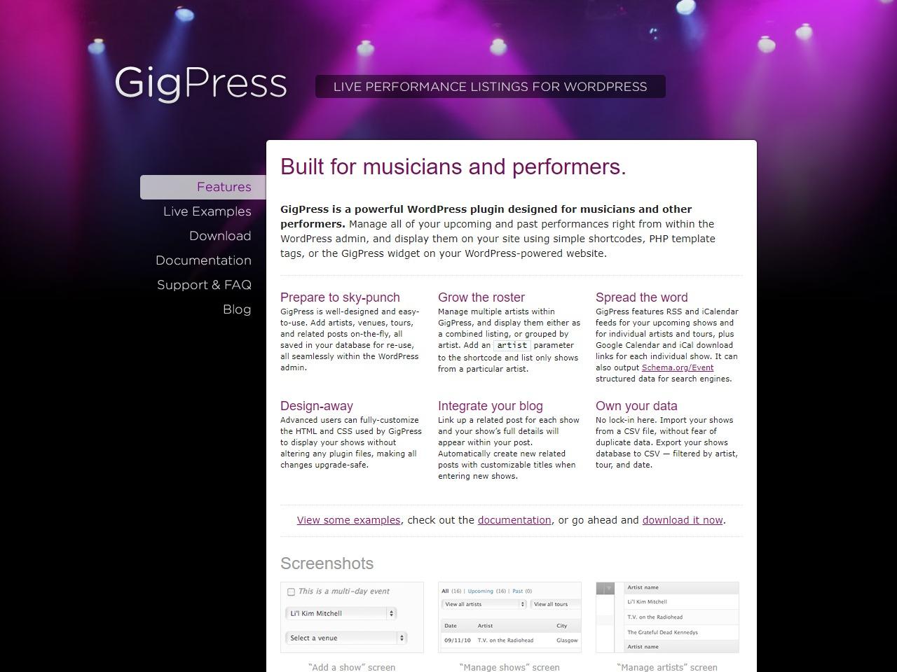 GigPress wordpress plugin