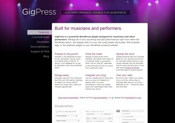 GigPress wordpress plugin