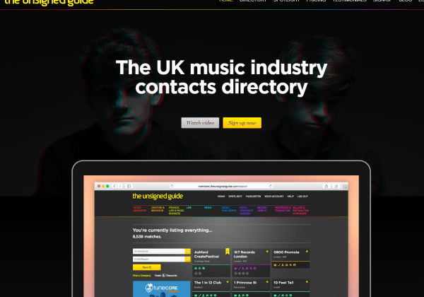 UK music industry contacts lists database directory online - The Unsigned Guide