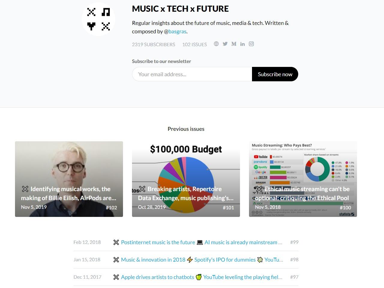 MUSIC x TECH x FUTURE newsletter