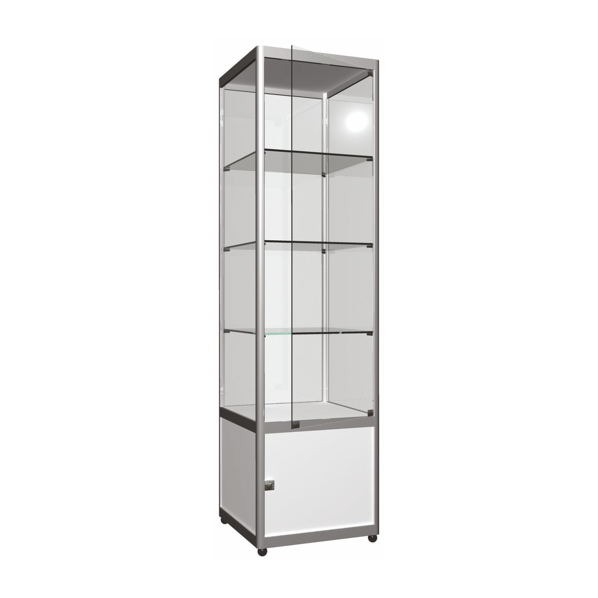 vitrine l50 x h200 x p50 cm en colonne avec stockage