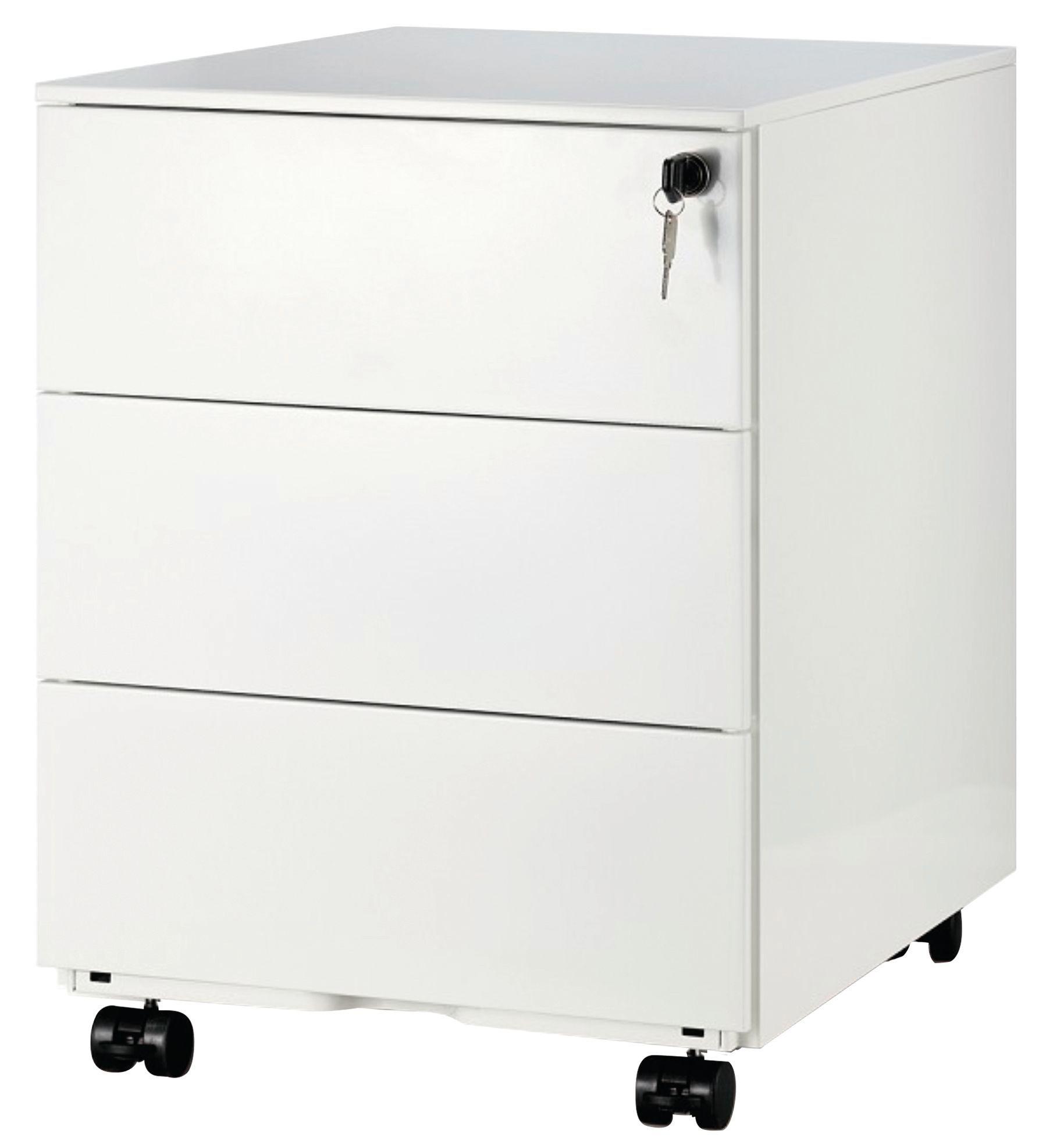 caisson mobile metallique monobloc h50 x l42 x p56 5 cm 3 tiroirs blanc