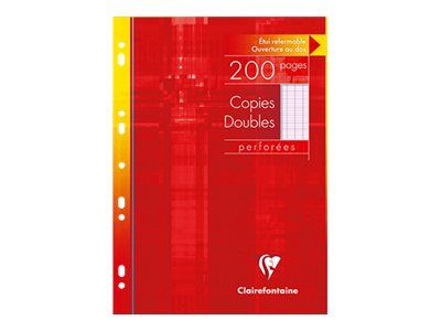 clairefontaine 200 copies doubles a4 grands carreaux seyes perforees
