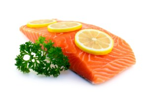 Fresh salmon with parsley and lemon