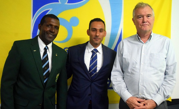 Paul Hewlett (BVIFA General Secretary), Alfredo Quiroz (CONCACAF) and Andy Bickerton (BVIFA President)