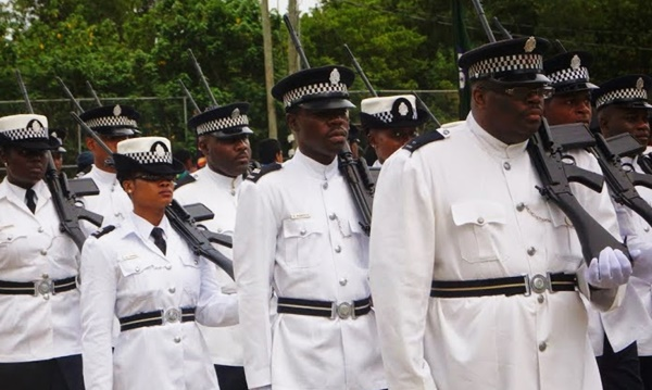 BVI police officers during a special event. Photo Credit: Andre 'Shadow' Dawson/BVI News Online