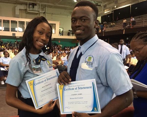 Mister and Miss Elmore Stoutt High School Calden James and Mya Walwyn