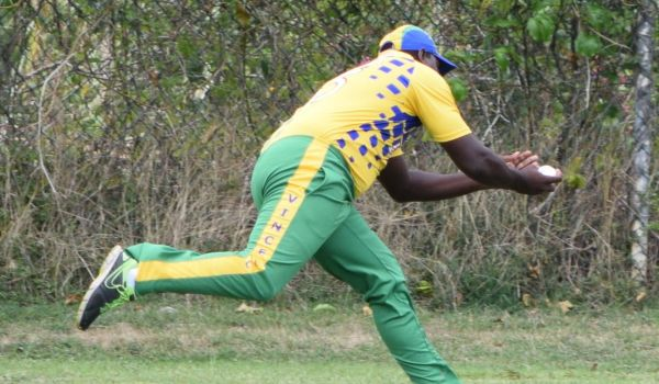 Steve Liburd takes an acrobatic catch for the Vincy
