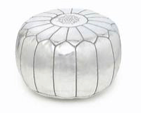 silver metallic moroccan pouf