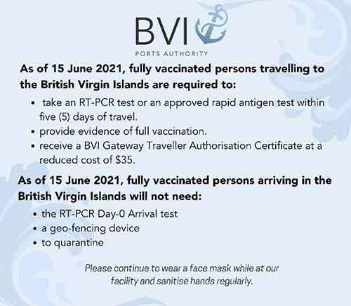 BVI approved mooring sites coronavirus restrictions BVI coronavirus entry requirements 2021