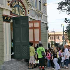 People coming into the Historic Entrance