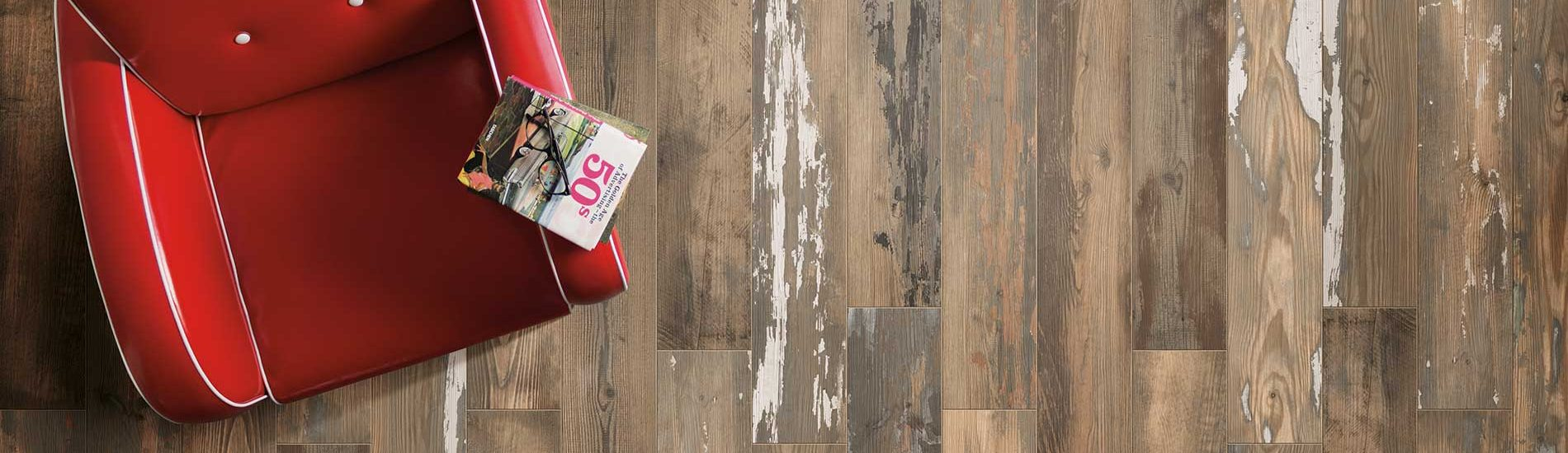 distressed wood look floor wall tile