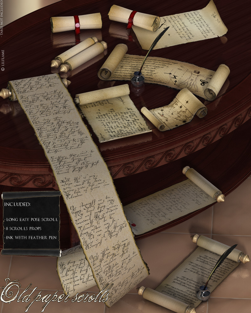 old paper scrolls 3d
