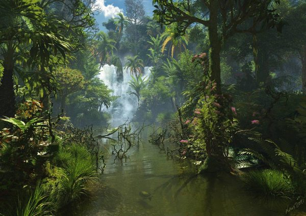 jungle fantasy with waterfall
