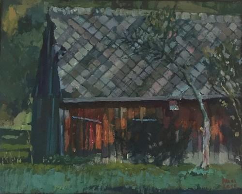 Damian Pacha,Stodoła sołtysa, olej, 20 x 30, 600,00zł