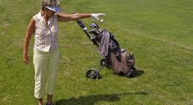 golf drop woman stock image