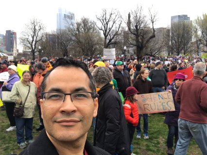 Ali Khademhosseini joins the crowd on the Boston Common