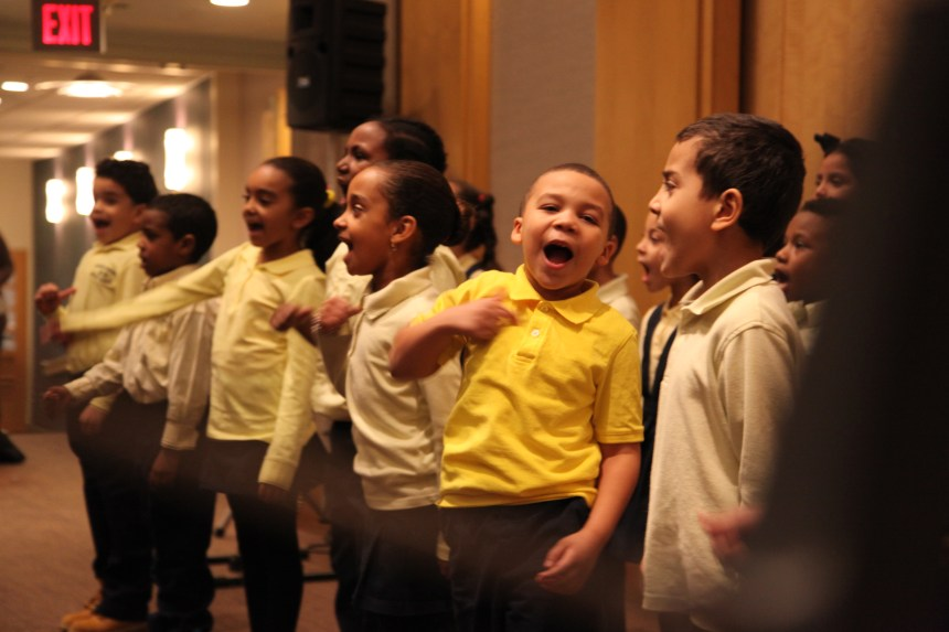 Boston's Orchard Garden Elementary School first-graders passionately recite part of Dr. King's famous speech.