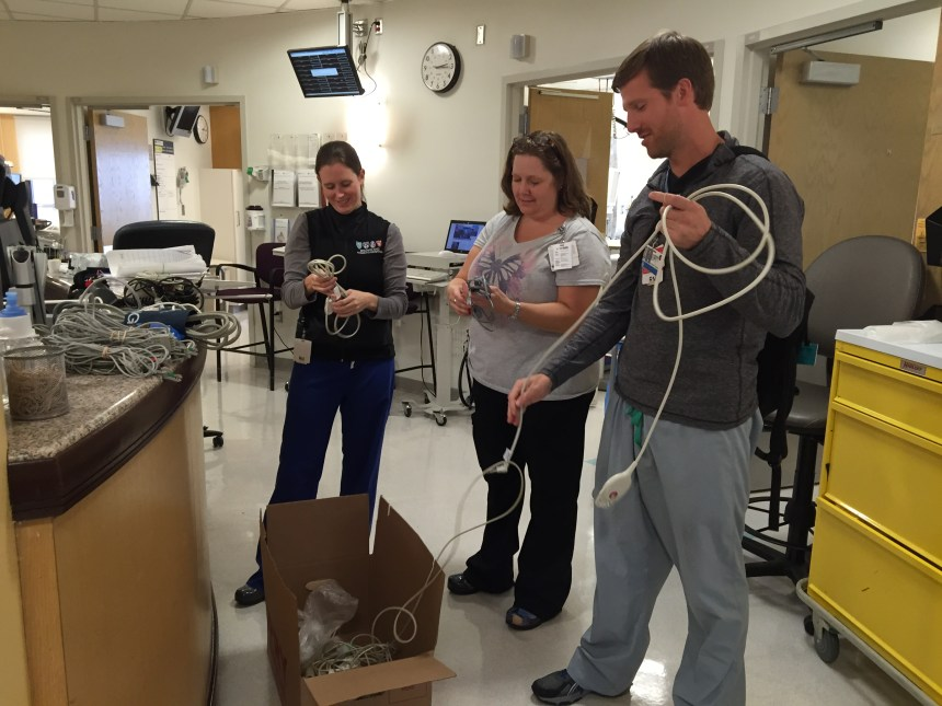 From left: Clinical nurses Allison Bell, Colleen Marsh and Andrew Bober in Tower 16A