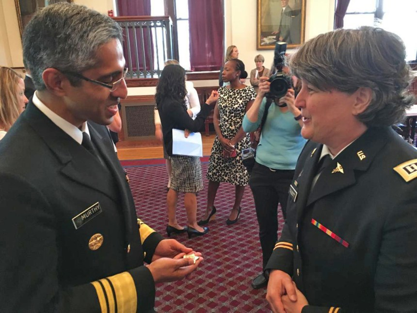 U.S. Surgeon General Vivek Murthy meets with Sheri Talbott.