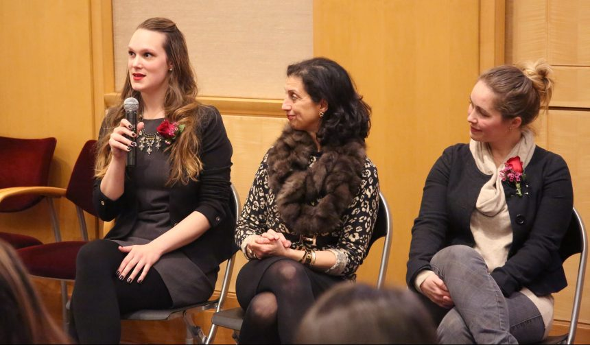 From left: V-Day speaker and survivor Kalie responds to a question alongside panelists Soheyla Gharib and Ramsey Champagne.