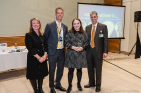 Ellen Bubrick (third from left), winner of the 2017 BRIght Futures Prize, poses with BRI Executive Director Jackie Slavik, Senior VP of Research and Education Paul Anderson and BRI Director Marc Sabatine.