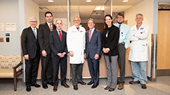 Brigham Health leaders gather for the Lung Center's ribbon-cutting ceremony.