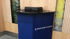 A charging station on the Pike, located between the Garden Café and the Mary Horrigan Connors Center for Women and Newborns