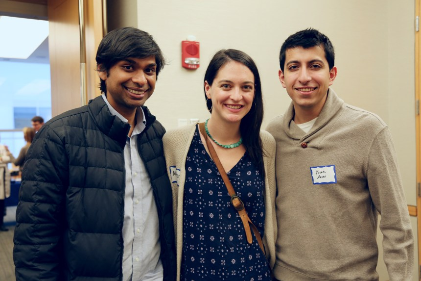 From left: Newly matched interns Sanjay Kishore, Margaret Hayden and Vishal Arora