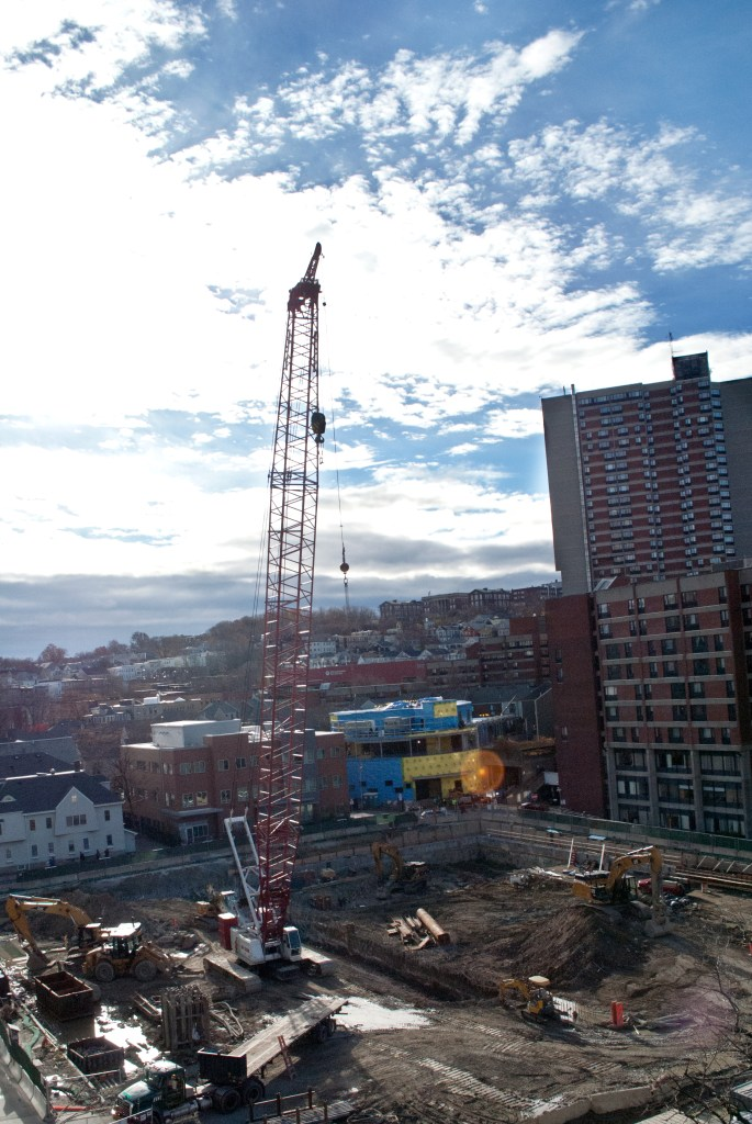 A view of the Brigham Building for the Future construction site from the Servicenter Garage this month.