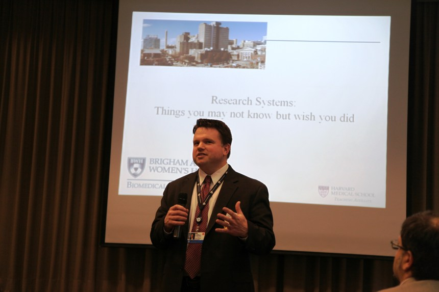 Daniel Salvati, administrative director for Research in the BWH Department of Surgery, helped moderate a session on research systems that drive applications utilized in Proposal Development, Financial Reporting and Human Resources and Purchasing.