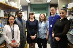 Caroline Owen's laboratory, currently located at the Harvard Institutes of Medicine on Blackfan Circle, will move to the Brigham Building for the Future later this year. Owen and her team, pictured from left to right: Xiaoyun Wang, PhD; Joseph Adedigba; Caroline Owen, MD, PhD; Joselyn Rojas-Quintero, MD; Ilyas Yambavey, MD; and Francesca Polverino, MD. Not pictured: Osagu Odeh