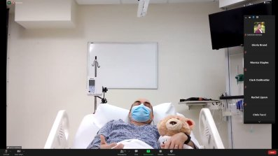 Briggie is a voice-responsive bear for patients