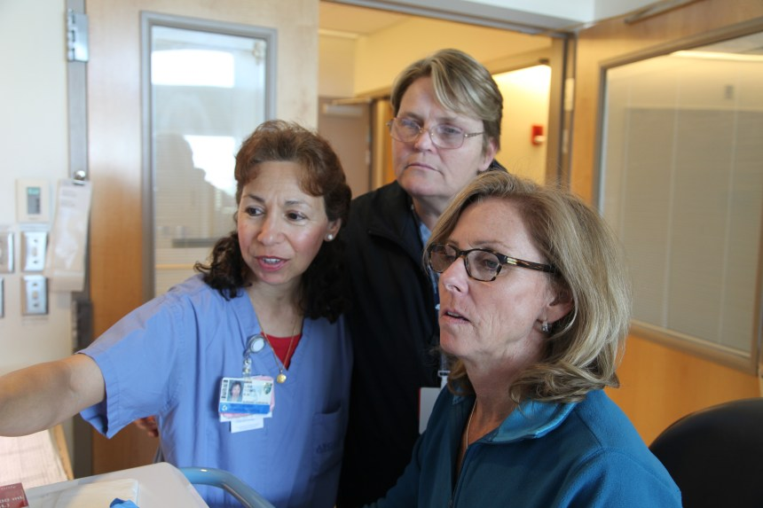Cardiac ICU nurses Lisa Comis, RN, Janet Kelley, RN, and Barbara Hatch, RN, use Partners eCare for the first time during Go Live weekend.