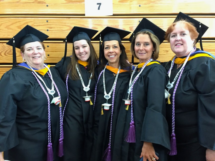 From left to right: Mary O'Neil, BSN, RN, Jodi Swenson, BSN, RN, Karen Lewis Brownell, BSN, RN, Anne Diodati, BSN, RN, and Nancy Zesch, BSN, RN, at the Emmanuel graduation ceremony in May 2015.