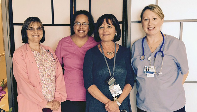 From left to right: Fernanda Trevisone, RN, nurse-in-charge, Leslie Bonaventura, RN, clinical nurse, Alice O'Brien, MS, RN, nurse director, and Ann-Marie Doyle, RN, nurse-in-charge in the Shapiro 8 Caritas Room