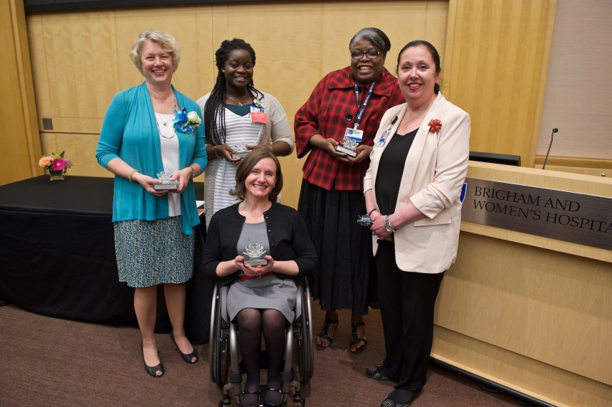 From left to right: Barbara H. Kalinowski, MSN, RN, NEA-BC, Maxine Rose, Margarette Marcelin, Jackie Somerville, PhD, RN, FAAN, and (front row) Cheri A. Blauwet, MD.