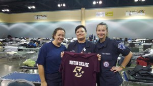 Brigham nurses (and Boston College graduates) Eileen Searle and Yaeko Karantonis, along with Alexis Schmid of Boston Children's Hospital, during disaster relief efforts in Puerto Rico in 2017.