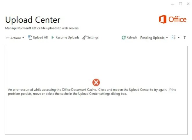 Microsoft office upload center found a problem while accessing the Microsoft office document cache